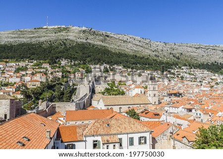 Dubrovnik panorama with traditional Mediterranean medieval houses with red tiled roofs. Dubrovnik - UNESCO World Heritage Site. Croatia, Europe.