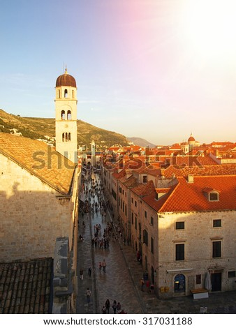 Dubrovnik roofs, Stradun street and sunset, Croatia, Balkan Peninsula, Europe - stock photo