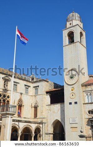Dubrovnik Sponza Palace and Bell Tower - stock photo