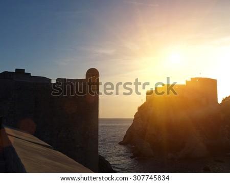Dubrovnik walls and sunset, Croatia, Balkan Peninsula, Europe - stock photo