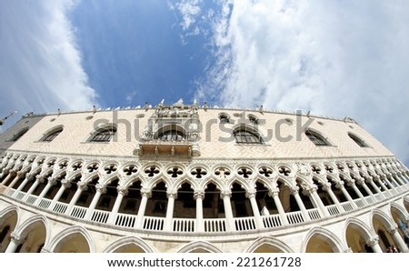 Ducal Palace in Venetian-style architecture in Venice by fisheye lens - stock photo