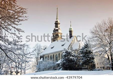 Duchess-Agnes-memory church in Altenburg in the winter - stock photo