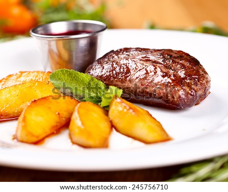 Duck breast with pear - stock photo