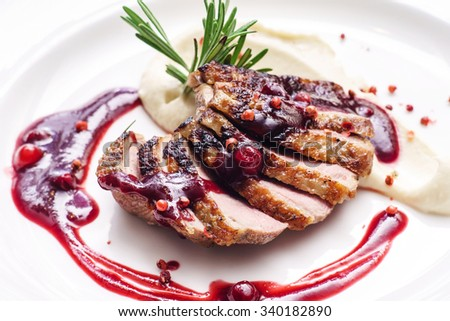 duck breast with sauce - stock photo