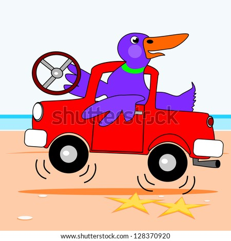 Duck driving a truck.  A duck is driving a truck by the sea.