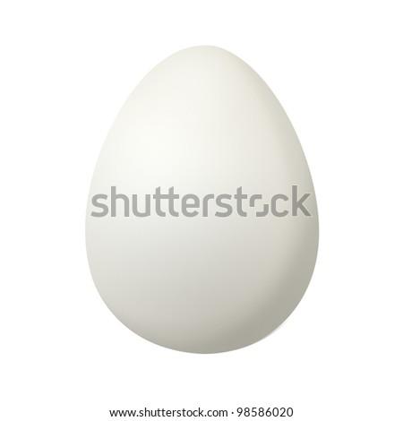 duck egg on white background , white egg - stock photo