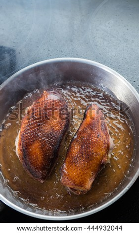 Duck fillet on grille pan. Poultry meat prepared on a grill. Fresh, delicious, spicy dish on a kitchen with copy space closeup and copy space. - stock photo