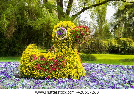 Duck made of flowers in a park on Mainau island