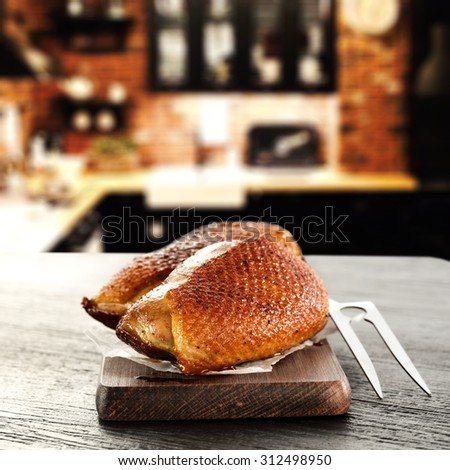 duck on table top and free space  - stock photo
