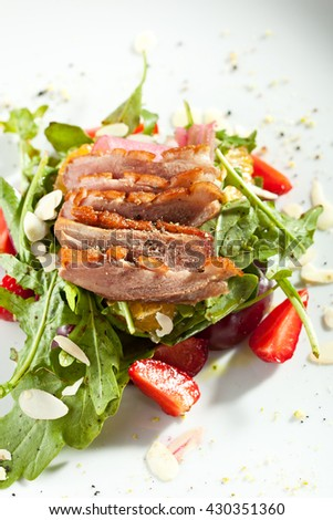 Duck Salad with Fruit and Rocket Salad