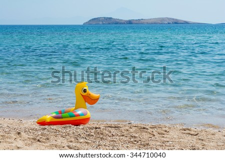Duck swimming tube on the beach - stock photo