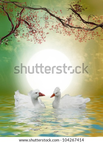 Ducks in the lake with tree and flowers - stock photo