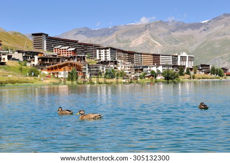 ducks on a mountain lake in summer - stock photo