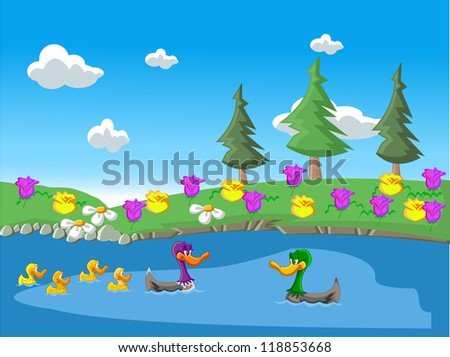 Ducks on the lake with flowers on the coast./Nature landscape with ducks in the lake - stock photo