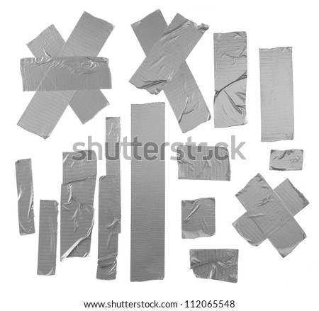 Duct repair tape silver patterns kit isolated - stock photo
