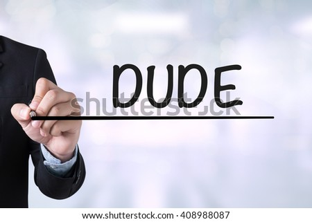 DUDE Businessman drawing Landing Page on blurred abstract background