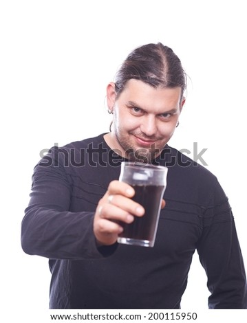 Dude with beer glass clink, studio shot - stock photo