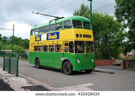DUDLEY, ENGLAND - JULY 2. The Black Country Museum features Victorian shop fronts and vintage transport set in recreated streets and is a popular tourist attraction. July 7 2016 in Dudley, England. - stock photo