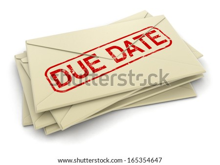 due date letters  (clipping path included)