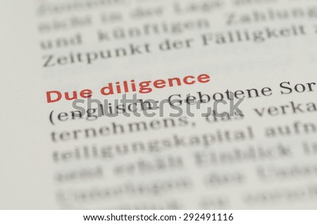 Due Diligence Definition German Stock Photo 292491116 - Shutterstock