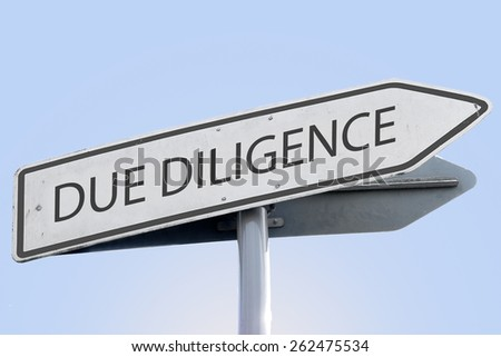 DUE DILIGENCE word on road sign