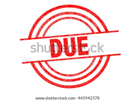 DUE Rubber Stamp over a white background.