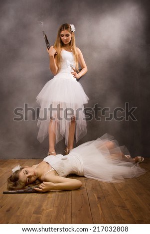 Duel of the two brides - stock photo