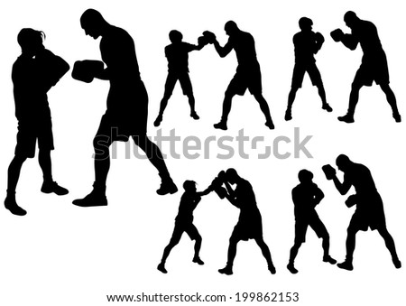 Duel of two boxers on a white background