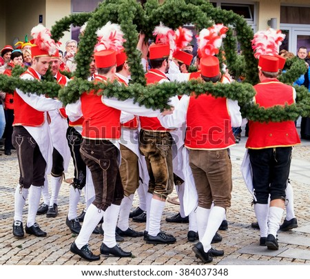 DUERNBACH, BAVARIA/GERMANY - FEB 9: typical bavarian schaeffler dance on feb 9, 2016 in duernbach, germany