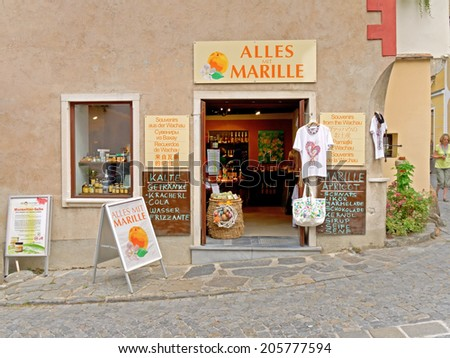 DUERNSTEIN, AUSTRIA - 16 July 2014: A shop selling souvenirs in Duernstein. Duernstein is a popular excursion destination and the region is also well known for the cultivation of apricots.   - stock photo