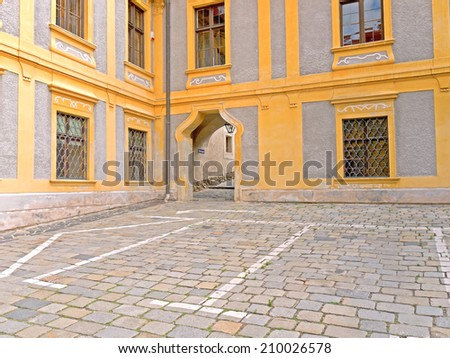 DUERNSTEIN, AUSTRIA - 16 July 2014: The former cloister in Duernstein is a landmark of the Wachau, Lower Austria. The renovation of the buildings startet in the 1980s.  - stock photo