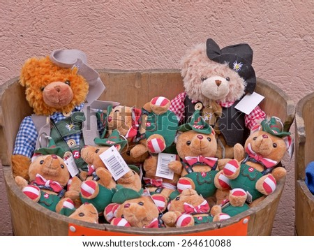 DUERNSTEIN, AUSTRIA - 28 March 2015: A shop selling souvenirs in Duernstein. Duernstein is a popular excursion destination in the Wachau region.  - stock photo