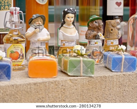DUERNSTEIN, AUSTRIA - 28 March 2015: A shop selling souvenirs in Duernstein. Duernstein is a popular excursion destination in Wachau.   - stock photo