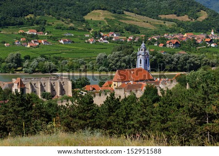 Duernstein, Wachau, Austria. Duernstein, a small town on the Danube river in the Wachau region, is an important tourist attraction in Lower Austria and one of the wine centers in the Wachau. - stock photo