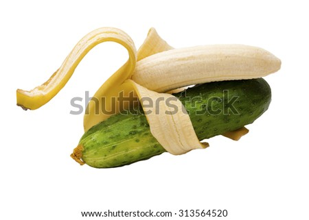 Duet bananas and cucumber. Isolated on white background - stock photo