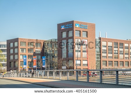 DUISBURG / GERMANY - APRIL 11 2014 : The headquarter of the Volksbank Rhein-Ruhr moved successful into the inner harbour today