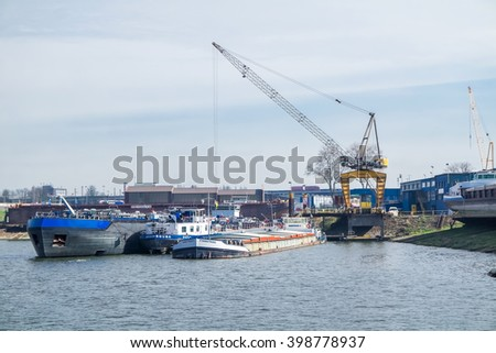 DUISBURG / GERMANY - MARCH 25 2016 : Ships beeing repaired at the Meidericher shipyard a few days before the great explosion on March 31 2016