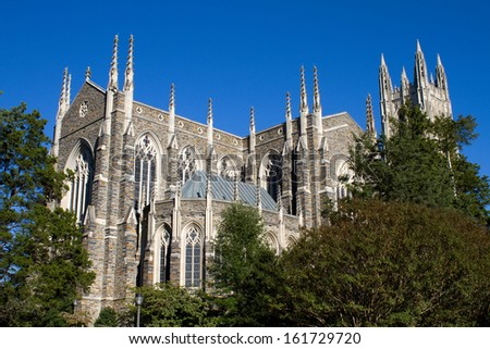 Duke University Chapel is located on the campus of Duke University in Durham, North Carolina and seats 1800 people. - stock photo