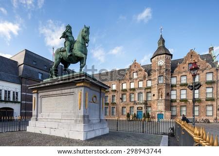 Duke Wilhelm statue in old city center of Dusseldorf - stock photo