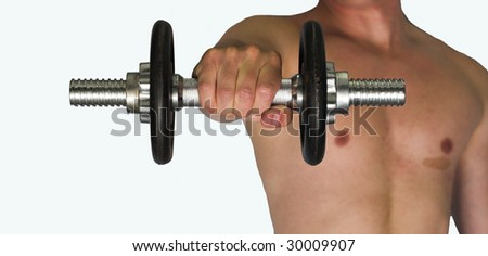 Dumb bell being held out by a young man - stock photo