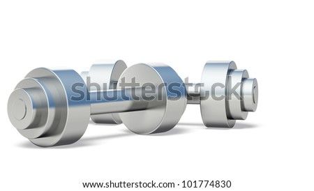 Dumb bell. It is isolated on a white background - stock photo