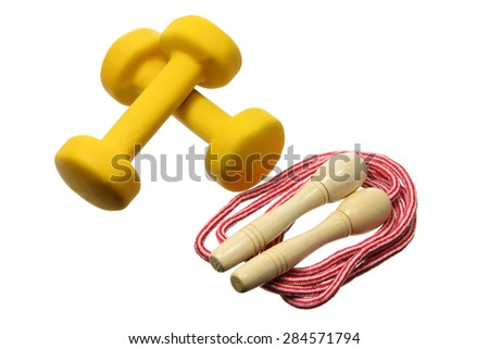 Dumb Bells and Skipping Rope on White Background - stock photo