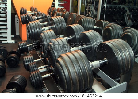 Dumb bells lined up in a fitness studio. Shot focus - stock photo