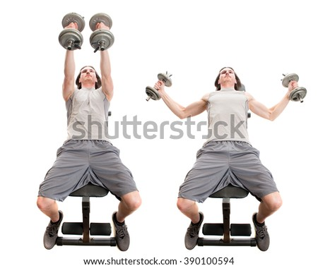 Dumbbell fly exercise. Studio shot over white.