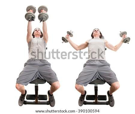 Dumbbell fly exercise. Studio shot over white. - stock photo