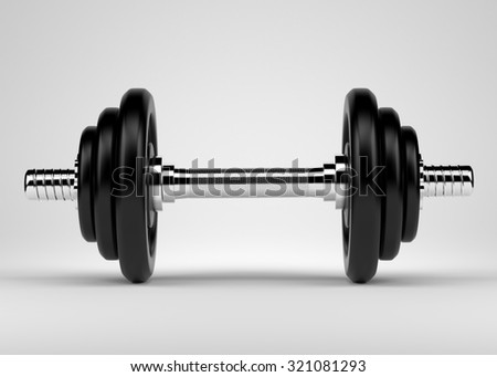 Dumbbell. Free weights area for workout in the gym.