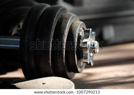 Dumbbell in the gym.