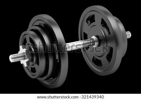 dumbbell isolated on black background - stock photo
