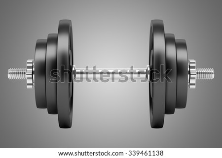 dumbbell isolated on gray background - stock photo