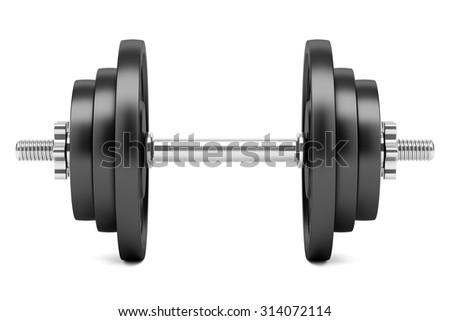 dumbbell isolated on white background - stock photo